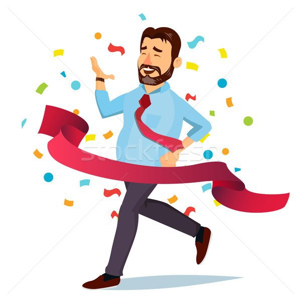 Businessman Crossing Red Line Vector. Office Worker. Leader Boss. First. Isolated Flat Cartoon Chara Stock photo © pikepicture