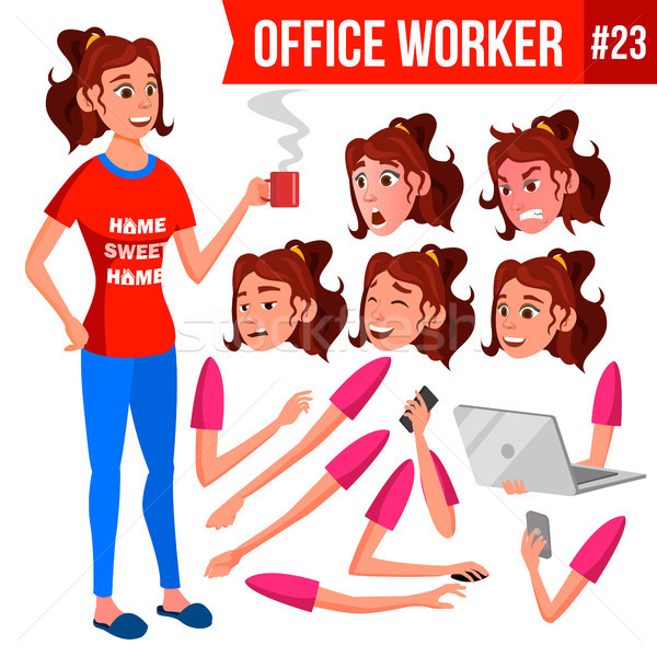 Office Worker Vector. Woman. Face Emotions, Various Gestures. Animation Creation Set. Isolated Carto Stock photo © pikepicture