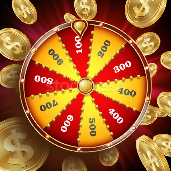 Wheel Of Fortune Design Vector. Win Fortune Roulette 3d Victory Object. Lucky Poster Opportunity Des Stock photo © pikepicture