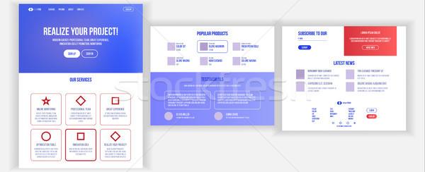 веб-дизайн шаблон вектора бизнеса интерфейс посадка Сток-фото © pikepicture