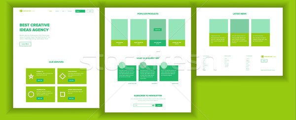 Web Page Design Vector. Website Business Style. Front End Site Scheme. Landing Template. Innovation  Stock photo © pikepicture
