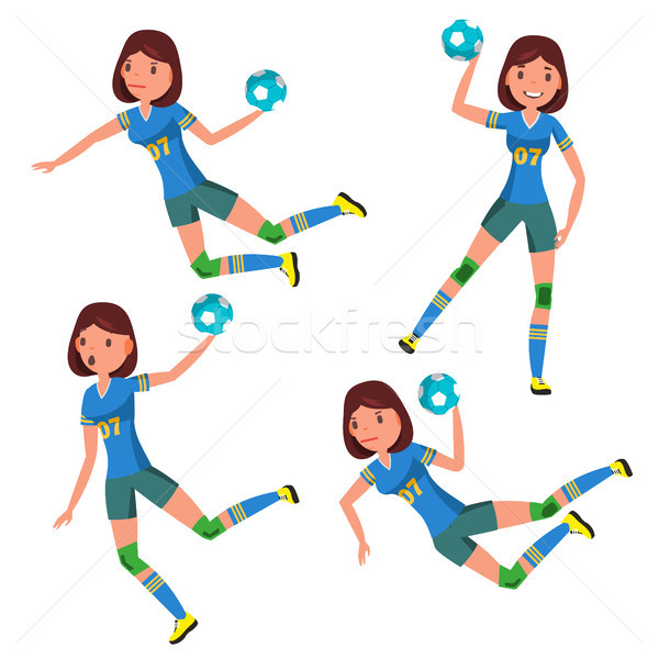 Handball Player Female Vector. Player In Attack. Corporate Branding Identity. Isolated Flat Cartoon  Stock photo © pikepicture