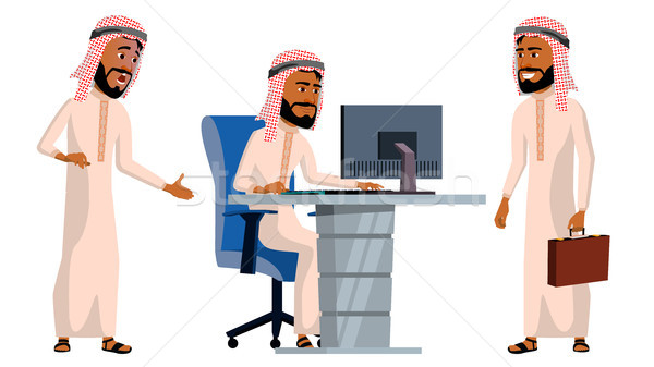 Arab Man Office Worker Vector. Traditional Clothes. Islamic. Face Emotions, Animated Elements. Vario Stock photo © pikepicture