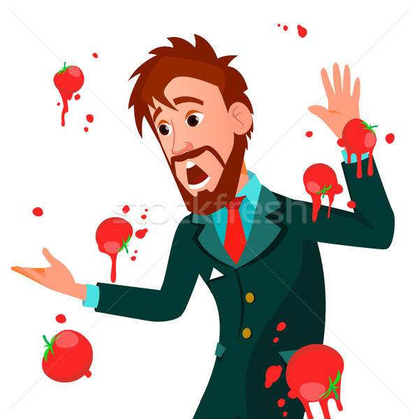 Businessman Having Tomatoes Fail Speech Vector. Unsuccessful Presentation. Bad Public Speech. Europe Stock photo © pikepicture