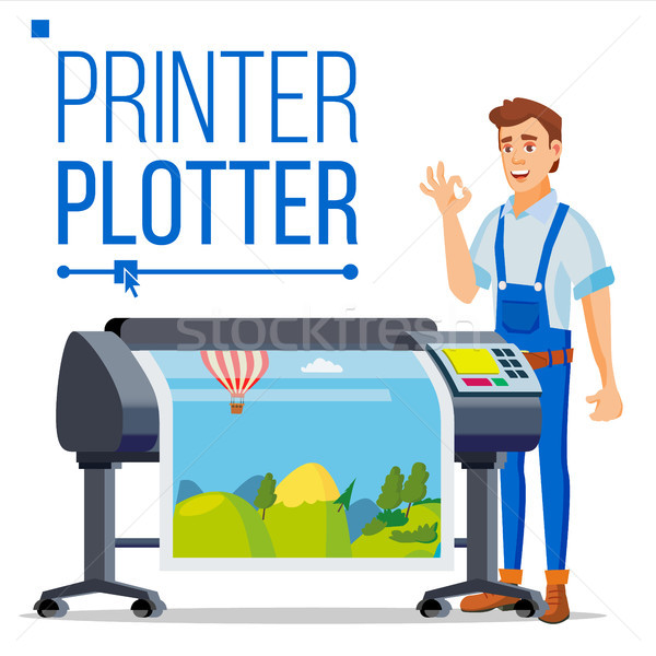 Stock photo: Worker With Plotter Vector. Man. Prints Beautiful Picture, Banner. Print Service. Isolated Flat Cart