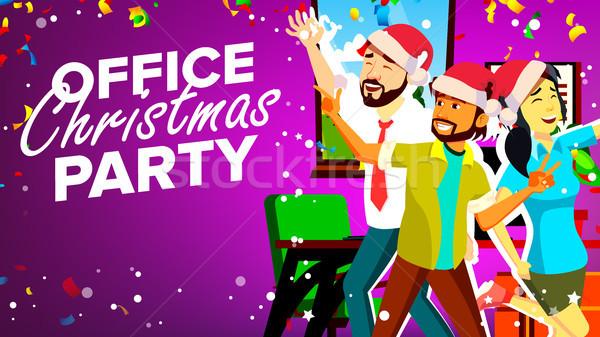 Stok fotoğraf: Ofis · Noel · parti · vektör · gülen · mutlu