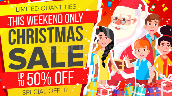 Christmas Sale Banner Vector. Discount Up To 50 Off. Special Offer Sale Banner. Illustration Stock photo © pikepicture