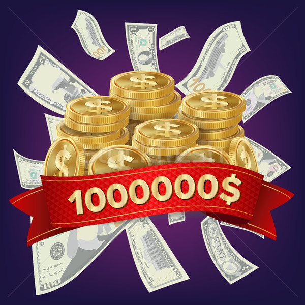 Casino Winner Vector Background. Coins And Dollars Money. Jackpot Prize Design. Winner Concept Illus Stock photo © pikepicture