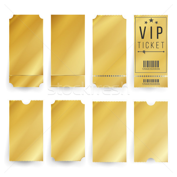 Stock photo: Vip Ticket Template Vector. Empty Golden Tickets And Coupons Blank. Isolated Illustration.