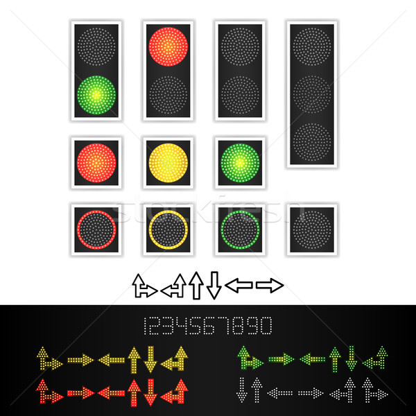 Road Traffic Light Vector. Realistic LED Panel. Sequence Lights Red, Yellow, Green. Time, Turn, Go,  Stock photo © pikepicture