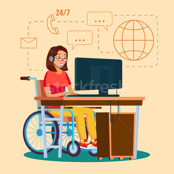 Disabled Woman Working Vector. Socialization Concept. Wheelchair With Person. Isolated Flat Cartoon  Stock photo © pikepicture