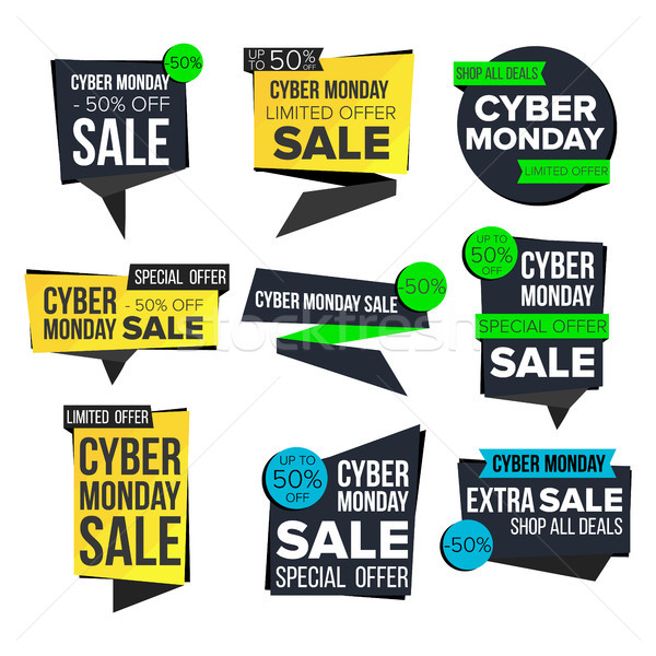 Cyber Monday Sale Banner Set Vector. November Sale Technology Banner. Website Stickers, Cyber Web Pa Stock photo © pikepicture