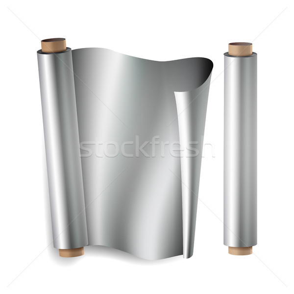 Metal Foil Paper Roll Vector. Close Up Top View. Opened And Closed. Realistic Illustration Isolated  Stock photo © pikepicture
