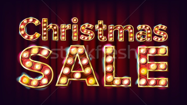 Christmas Sale Sign Vector. 3D Electric Glowing Digit. Flyer, Banner, Brochure Template. Christmas H Stock photo © pikepicture