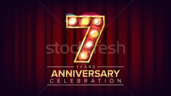 7 Years Anniversary Banner Vector. Seven, Seventh Celebration. Shining Light Sign Number. For Birthd Stock photo © pikepicture