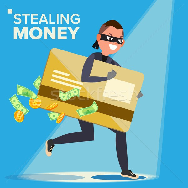Thief Character Vector. Hacker Stealing Sensitive Data, Money From Credit Card. Hacking PIN Code. Br Stock photo © pikepicture