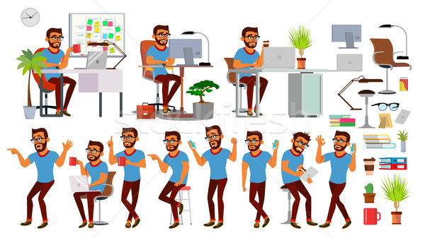 Business Man Character Vector. Working Hindu People Set. Office, Creative Studio. Bearded. Business  Stock photo © pikepicture