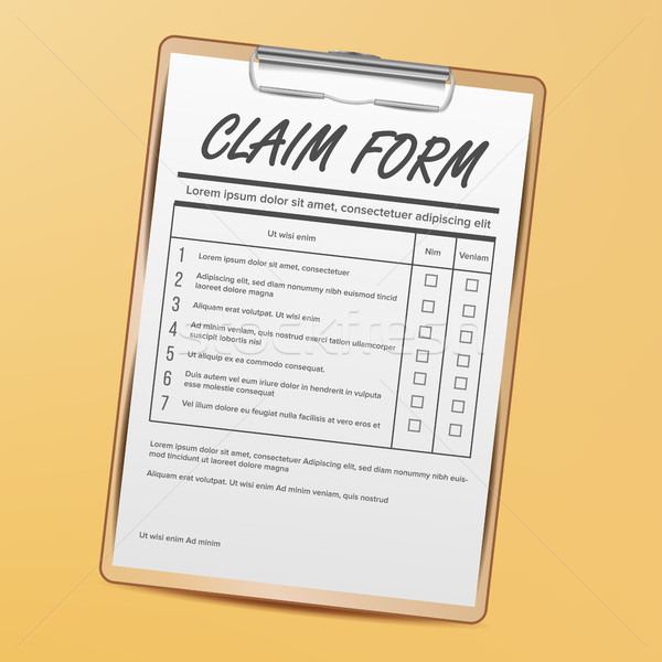 Stock photo: Claim Form Vector. Medical, Office Paperwork. Clipboard. Realistic Illustration
