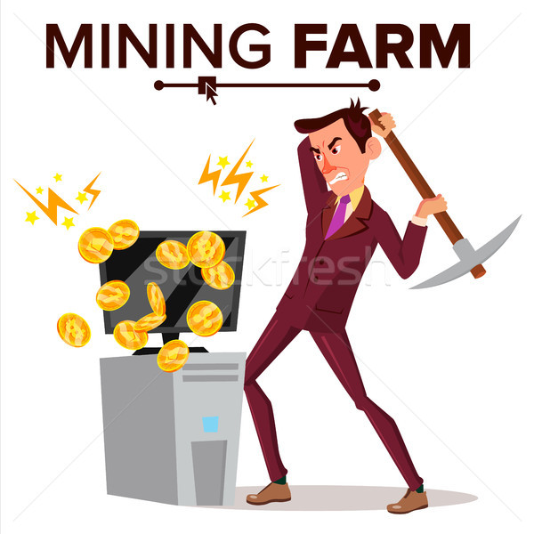 Mining Farm Vector. Businessman Miner. Cryptography Currency. Modern Industry. Server Database. Isol Stock photo © pikepicture