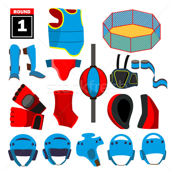 MMA Icons Set Vector. MMA Accessories. Round, Arena, Ring, Gloves, Helmet, Belt. Isolated Flat Carto Stock photo © pikepicture