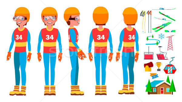 Skiing Man Player Male Vector. Extreme Speed On Downhill. Cold Downhill. Cartoon Athlete Character I Stock photo © pikepicture