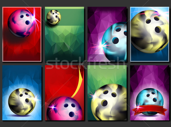 Bowling Poster Set Vector. Empty Template For Design. Promotion. Bowling Club Ball. Modern Tournamen Stock photo © pikepicture