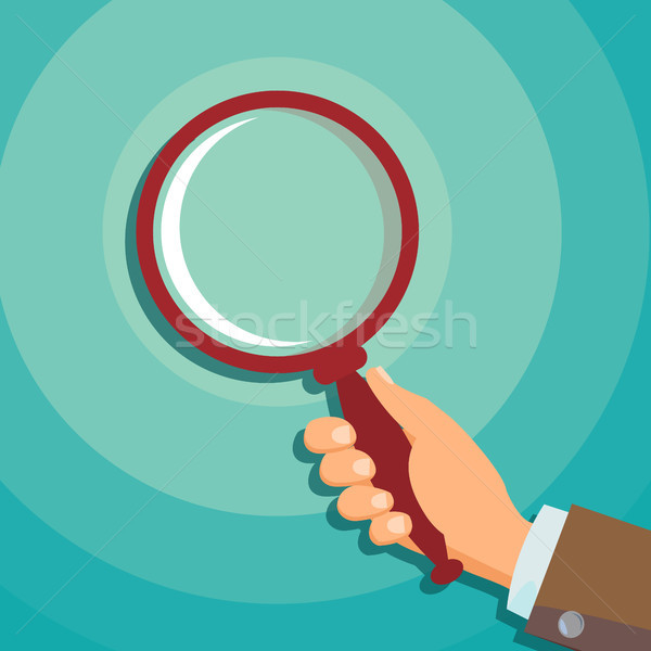 Hand Holding Magnifying Glass Vector. Data Analyzing Business Concept. Loupe, Focus. Flat Illustrati Stock photo © pikepicture