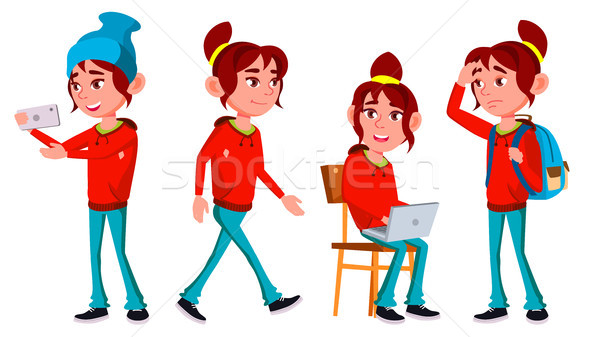 Girl Schoolgirl Kid Poses Set Vector. High School Child. High School. Teaching, Educate, Schoolkid.  Stock photo © pikepicture