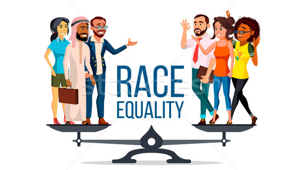 Race Equality Vector. Standing On Scales. Equal Opportunity, Rights. Diversity Tolerance Concept. Pi Stock photo © pikepicture