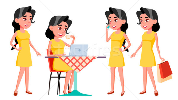 Teen Girl Poses Set Vector. Funny, Friendship. For Advertisement, Greeting, Announcement Design. Iso Stock photo © pikepicture
