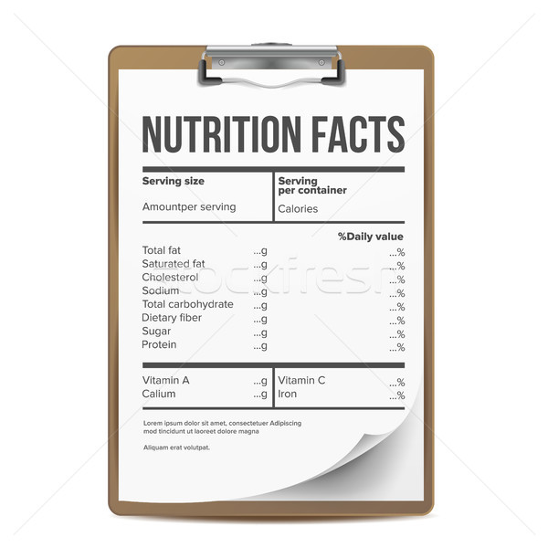 Nutrition Facts Vector. Blank, Template. Serving. Healthy. Fitness Healthy Dietary Supplement. Illus Stock photo © pikepicture