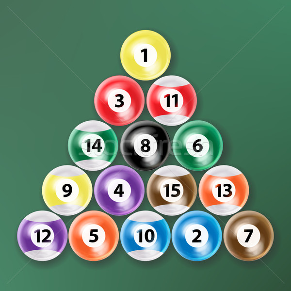 Billiard Ball Set Vector Realistic. Isolated Vector Illustration On Green Background. Stock photo © pikepicture