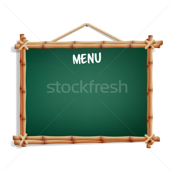 Cafe Menu Board. Isolated On White Background. Realistic Green Chalkboard With Wooden Frame Hanging. Stock photo © pikepicture