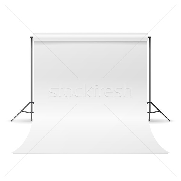White Photo Studio Vector. Empty White Canvas Backdrop. Realistic Photographer Studio Isolated Illus Stock photo © pikepicture