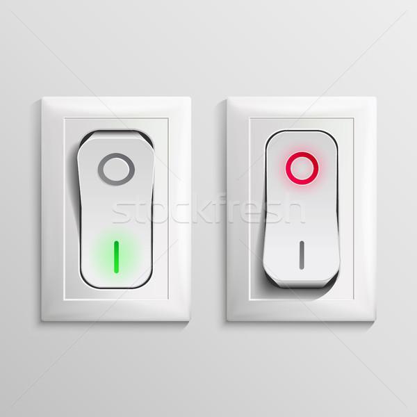 スイッチ ベクトル プラスチック オフ 位置 ボタン ストックフォト © pikepicture