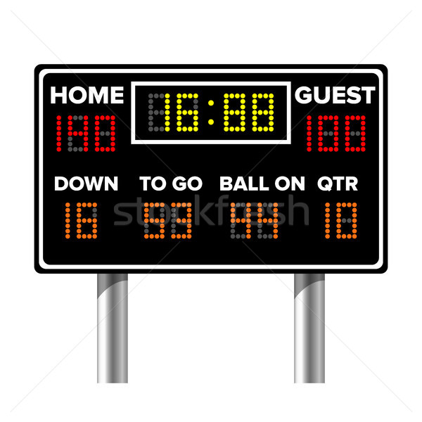 American Football Scoreboard. Sport Game Score. Digital LED Dots. Vector Illustration Stock photo © pikepicture