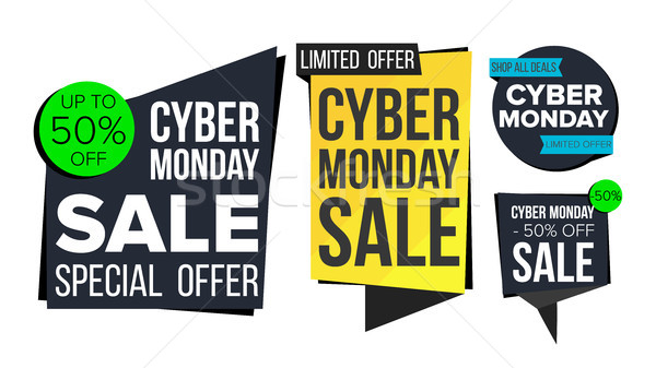 Cyber Monday Sale Banner Set Vector. Discount Tag, Special Monday Offer Banners. November Good Deal  Stock photo © pikepicture