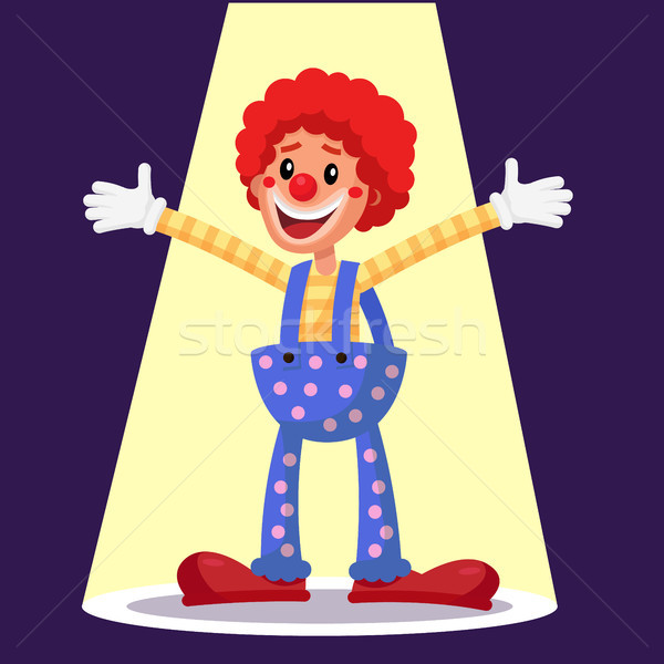 Stock photo: Happy Clown Vector. Circus Action Performer. Vintage Style. Isolated Flat Cartoon Character Illustra