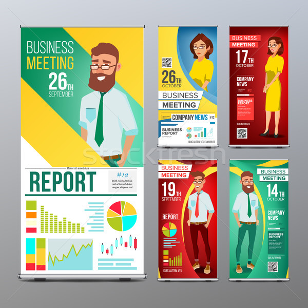 Roll Up Banner Set Vector. Vertical Billboard Template. Businessman And Business Woman. Expo, Presen Stock photo © pikepicture