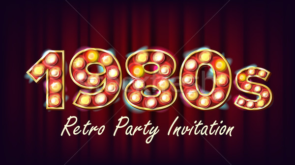 1980s Retro Party Invitation Vector. 1980 Vintage Style Design. Shine Lamp Bulb. Glowing Classic Ret Stock photo © pikepicture