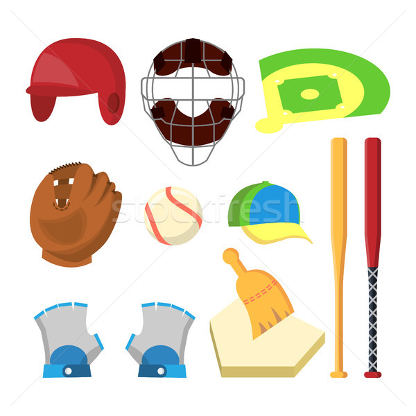 Golf Icons Set Vector. Golf Accessories. Cup, Flag, Grass, Cap, Stick, Bag, Car. Isolated Flat Carto Stock photo © pikepicture