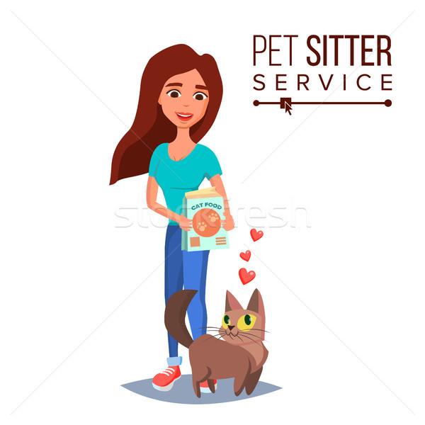 Cat Pet Sitter Vector. Cat Sitter Walking. Pet Taking A Rest. Cartoon Character Illustration Stock photo © pikepicture