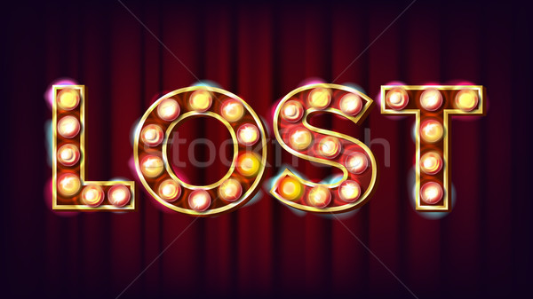 Lost Banner Vector. Casino Vintage Style Illuminated Light. For Luck Design. Gamble Illustration Stock photo © pikepicture