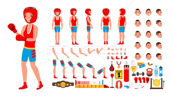 Boxing Player Vector. Animated Character Creation Set. Fighting Sportsman Male. Full Length, Front,  Stock photo © pikepicture