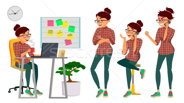 Business Woman Lady Character Vector. Working Female. IT Startup Business Company. Environment Proce Stock photo © pikepicture