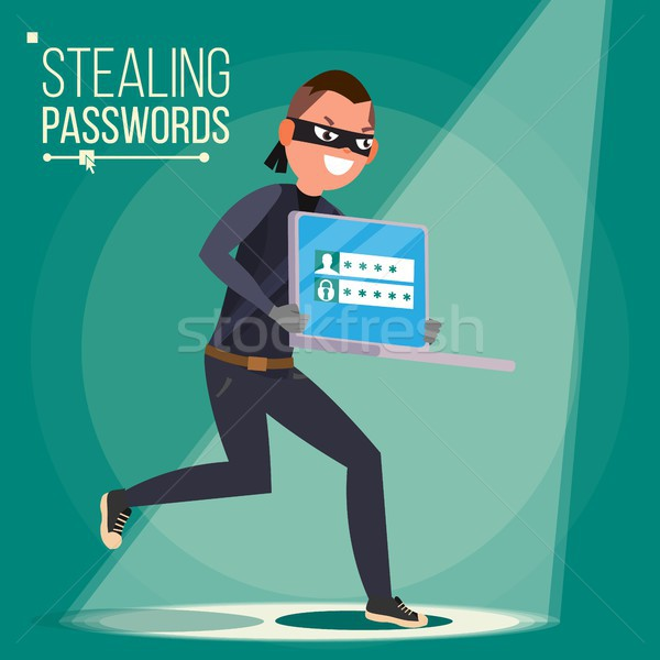 Thief Character Vector. Hacker Stealing Sensitive Data, Money From Laptop. Hacking PIN Code. Hacking Stock photo © pikepicture