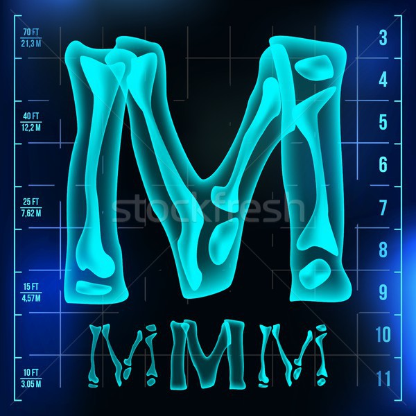 M Letter Vector. Capital Digit. Roentgen X-ray Font Light Sign. Medical Radiology Neon Scan Effect.  Stock photo © pikepicture
