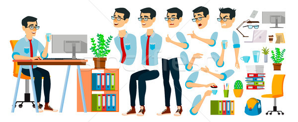 Business Man Character Vector. Working Asian Male. Business Start Up. Modern Office. Coding, Softwar Stock photo © pikepicture