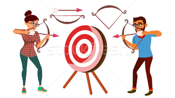 Archery Concept Vector. Woman And Man Shooting From A Bow In A Target. Archery Player Aiming At Targ Stock photo © pikepicture