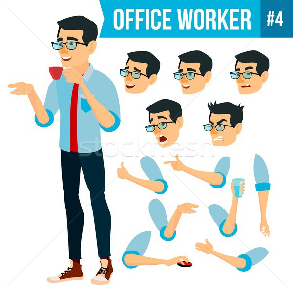 Office Worker Vector. Face Emotions, Various Gestures. Animation Creation Set. Business Human. Smili Stock photo © pikepicture